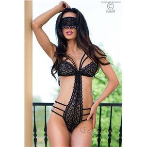 Body sensuel + masque en dentetelle CHILIROSE