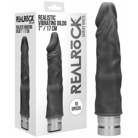 Vibromasseur Réaliste Noir Realrock - 19 cm Ouch