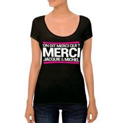 T-shirt Jacquie et Michel On dit merci qui ? noir